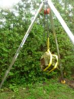 This is a 1 ton hoist with a 1 ton block & tackle