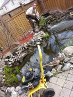Here Brent is powerwashing a pond. I wouldn't recommend a complete power washing nor power washing later in the season