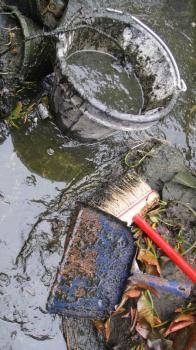 This pond is a little easier to clean because their are no rocks - with a bottom drain it would be self cleaning